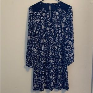 Long sleeve blue and white floral dress